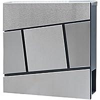 HENGMEI 37x37x11cm Buzones de acero inoxidable con el periódico rollo de Correo para Cartas y Correo Postal Buzón mural grande, Modelo H