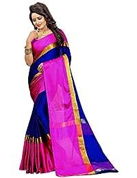 Bhuwal Fashion Gorgious Blue Cotton Silk Saree With Blouse