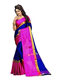 Bhuwal Fashion Gorgious Blue Cotton Silk Saree with Blouse