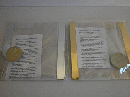 Schnooridoo 4 x Wasserlaterne Wasserlampion mit Teelicht Papierlaterne 15 cm - Gold/Silber