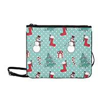 Christmas Snowflakes And Snowman Pattern Custom High-grade Nylon Slim Clutch Bag Cross-body Bag Shoulder Bag