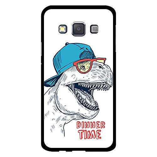 BJJ SHOP Schwarz Hülle für [ Samsung Galaxy A3 2015 ], Klar Flexible Silikonhülle, Design: Dinosaurier mit Kappe und Brille, Dinner TIME