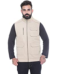 Trufit Sleeveless Solid Men's Multi-Pocket High Neck Fur Lining Peached Cotton Jacket