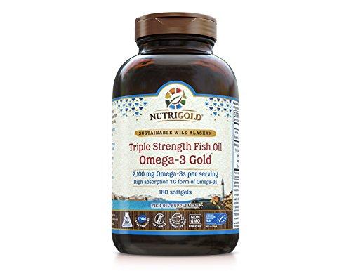 Oméga-3 Fish Oil - NutriGold Triple force Omega-3 or, 180 gélules - 1 000 mg EPA + DHA avec 85 % oméga-3 dans 1 250 mg gélules liquides, distillation des acides gras, qualité pharmaceutique pilules qui ne sont pas entériques enduit pour une meilleure Absorption mais toujours garanti Burpless et inodore - IFOS 5 étoiles certifié, ConsumerLab approuvé et classé #1 par LabDoor en comparaison des 50 meilleurs suppléments d'huile de poisson