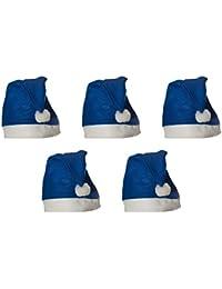 5 er Set Weihnachtsmütze Nikolausmütze Blau Uni Schlicht einfach Mütze Weihnachtsmarkt X37