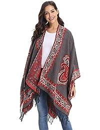 5dd815460ad3 Abollria Poncho Cape Femme Tricot Epais Coton Châle Franges Carreaux Tartan  Foulard Echarpe Couverture Chaud Cardigan