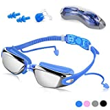 Unisex Swimming Goggles Adult Mirrored Swimming Goggle Anti fog UV Protection with Earplugs