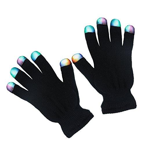 Chnano LED Handschuhe mit 3 Farben Leuchtenden Einstellungen Coole Spielzeuge Gloves 6 Modi blinkende Bunte Finger Kostüm Geschenk für Disco Party Tanzabend Halloween Club Weihnachten Geburtstag Show Ostern DJ Fahrradfahren (Coole Kostüme)