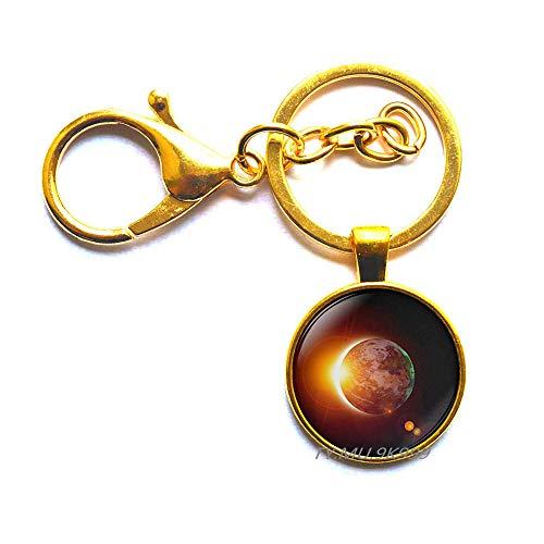 Solar Eclipse Schlüsselanhänger, Eclipse Schlüsselanhänger, Weltraum-Schlüsselanhänger, Galaxy-Schlüsselring, Solar-Eclipse, Weltall-Schmuck Y205