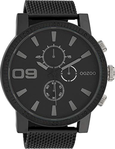 Oozoo Herrenuhr mit Metallband 50 MM Black/Schwarz/Schwarz C10053