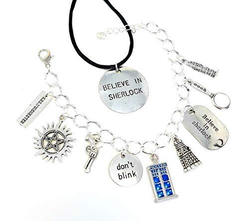 Super die Lock Charm Armband und Believe In Sherlock Halskette Set. Inklusive anti-possession Symbol, Don 't Blink, Tardis, Believe in Sherlock, Frau Winchester, Dalek und mehr (Sherlock Halskette)