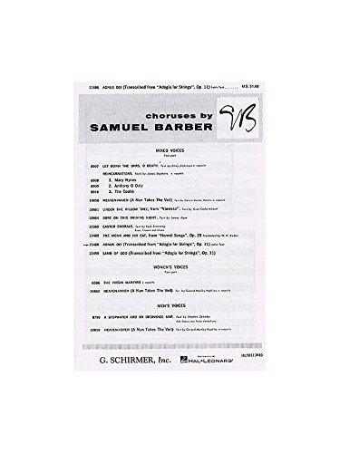 Samuel Barber: Agnus Dei. Partitions pour SATB