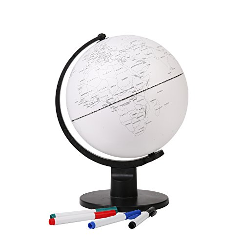Exerz Globo Terraqueo Educativo en Blanco (25 cm) con 4 Plumas de Punta de Fibra de Colores / marcadores borrables - en Inglés - Diámetro 25 cm EX-GL25DIY