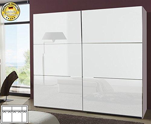 Schwebetürenschrank Kleiderschrank 788012 weiß / Weißglas 313cm