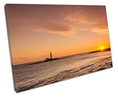 Küche & Badezimmer Banner North East Sunrise über ST MARY 'S Leuchtturm - 45 x 30 x Depth 2cm
