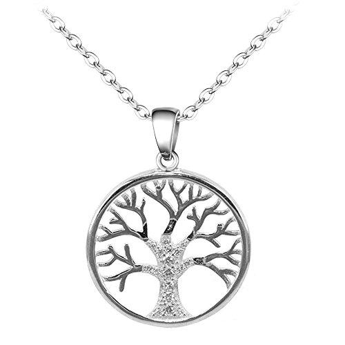 BiBeary Damen elegant 925 Sterling Silber Zirkonia CZ round Baum des Lebens Lebensbaum Chain Pendant Halskette Kette klar