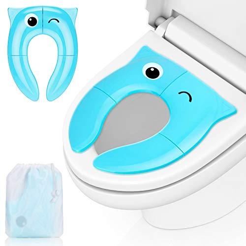 Infreecs Bébé Réducteur De Toilette pour Enfant et Bébé, Siège de Toilette Pour Bébés anti-dérapant, robuste et pliable, Un Sac de Rangement Bonus