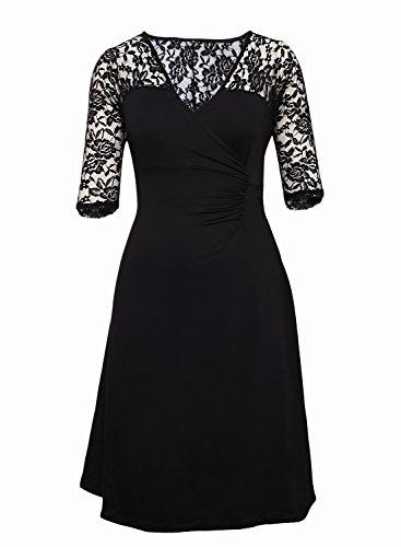 MAX MALL Damen V-Ausschnitt Halbarm Abendkleid Knielang Übergröße Spitze Brautjungfer Partykleid Schwarz-2