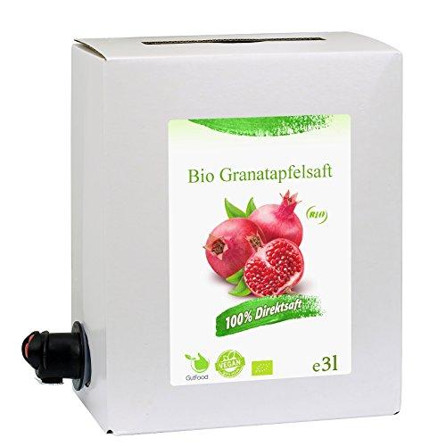 GutFood - 3 Liter Bio Granatapfelsaft - Bio Granatapfel Saft in praktischer Bag in Box Packung ( 1 x 3 l Saftbox ) - Muttersaft aus Bio Granatäpfeln Erstpressung in absoluter Spitzenqualität aus ökologischem Landbau