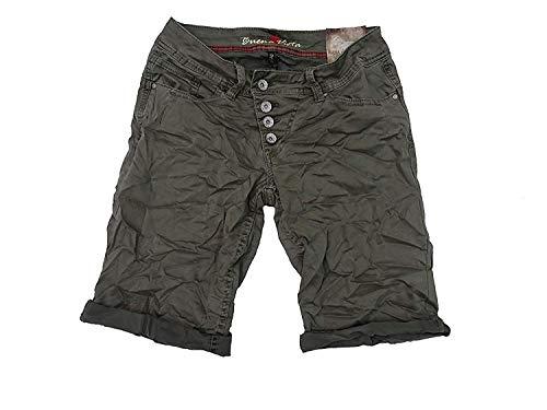 Buena Vista Damen Stretch Jeans Shorts Bermuda Krempelhose Malibu (S, Khaki)