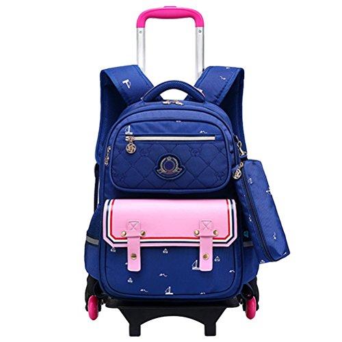Aufrechter Koffer (Zhhlinyuan Wasserdichter Rucksack Trolley Tasche - Lässige Schultaschen Entfernbar Reise Aufrecht Büchertasche Koffer zum Mädchen Jungen)