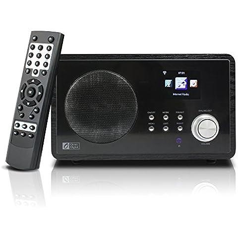 Ocean Digital Internet Radio WR60 WiFi Wlan inalámbrica conexión 2.4' Color pantalla LCD reproductor multimedia de escritorio madera-negro