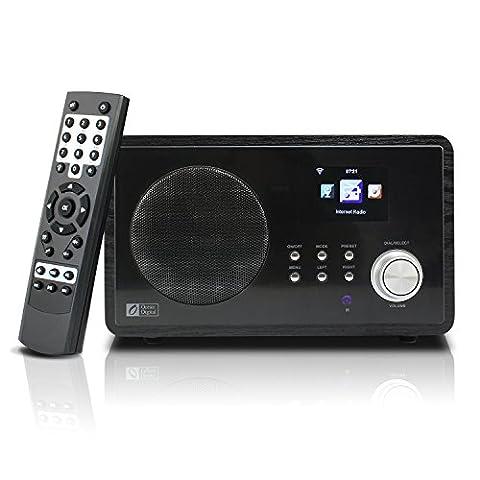 Ocean Digital Internet Radio WR60 WiFi WLAN Funk-Schreibtisch Wecker aus Holz, Media Player, groß-schwarz