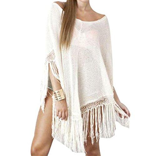 Jastore®3 Farben Quaste Pareo Damen Strandponcho Sommer Überwurf Kaftan Strandkleid Bikini Cover Up Weiß