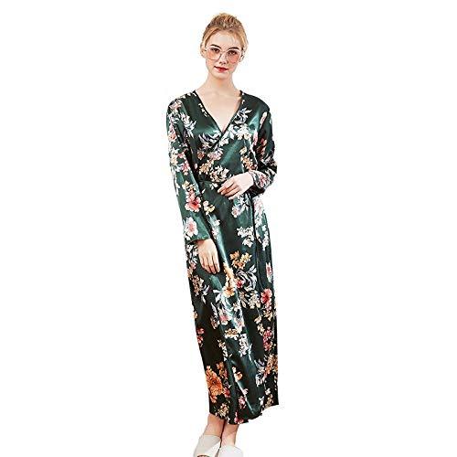 Peignoir Dessous (XMDNYE Frauen Seide Robe Sexy Lange Dessous Nachtwäsche Brautjungfer Kimono Blume Drucken Nachthemd Peignoir Sexy Bademantel Bad Robe)
