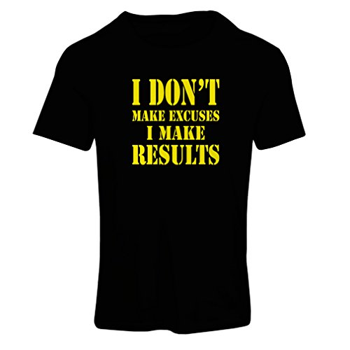 Frauen T-Shirt I Make Results - Gewicht verlieren schnelle Zitate und Muskelaufbau Motivationsrede (Small Schwarz Gelb)