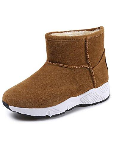Minetom Damen Winter Warm Plüsch Gefüttert Kurz Schneestiefel Rutschfest Schneeschuhe Britischer Stil Sport Bootsschuhe Ankle Boots B Braun EU 40 (Zoll-knie-boot 6)