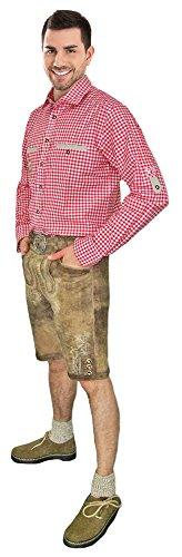 Hochwertige Kurze Lederhose Detlef desert/ecrue Gr. 54 - Kurze Lederhose für Herren aus Ziegenveloursleder - Marken Lederhose von Lekra