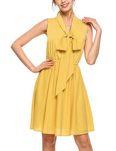 Parabler Damen Ärmellos Chiffon Kleid Sommerkleid Knielang Rockabilly Kleid mit Falten...