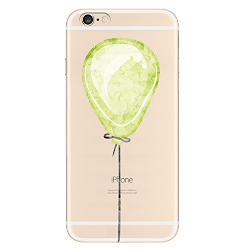 IPHONE 6s Hülle Traumfänger Ballon Karikatur Panda TPU Silikon Schutzhülle Handyhülle Case - Klar Transparent Durchsichtig Clear Case für iPhone 6/6s Grüner Ballon