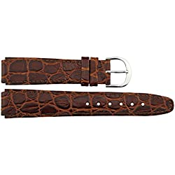 Watch Strap in Brown Leather - 16mm - Alligator grain - buckle in Silver stainless steel - B16BroAli55S