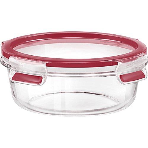 Emsa 516242Clip & Close caja redonda vidrio rojo 17,8x 17,8x 6,9