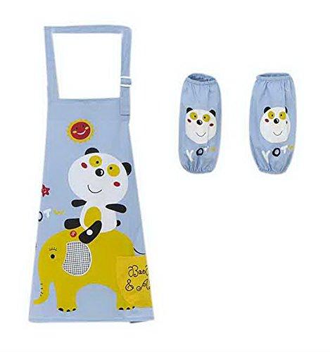 Malerei Schürzen Schöne wasserdichte Künstler Smocks für Kleinkind Alter 2- 5, Panda Blau (Künstler Kostüm Kleinkind)