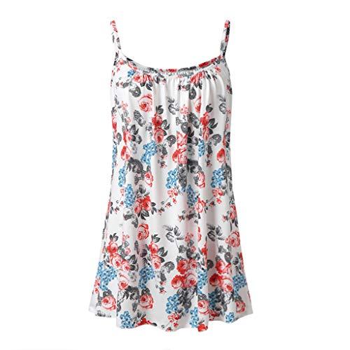 Andouy Damen - Camis Top Print - Ärmellose Weste Tank Plus Size Gr.36-52 Übergroße Laides Daily Beach Straps-Bluse(3XL(46),Weiße Blume) -