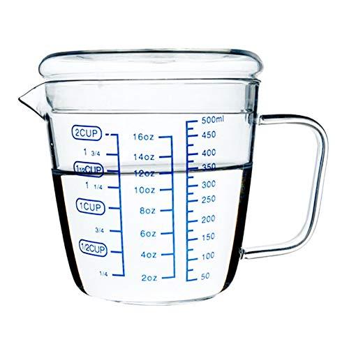 Erjialiu 250ml 500ml graduierte transparente Messbecher Mikrowelle erhitzt Milch Tasse hitzebeständige Glas gesunde Frühstückstasse mit Deckel,klar,250 ml - Mikrowelle Milch Tasse