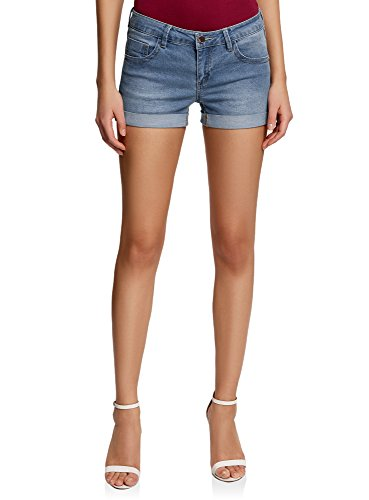 oodji Ultra Damen Jeansshorts Basic, Blau, DE 38 / EU 40 / M
