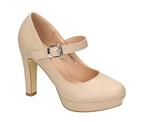 Klassische Mary Janes (Klassische Trendige Damen Mary Jane Riemchen Pumps Stilettos Party High Heels Plateau Schuhe Bequem 19 (38, Beige))