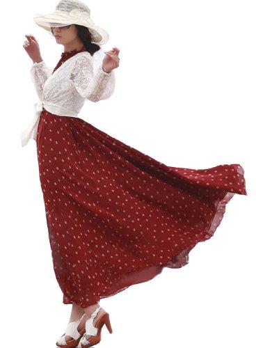 Dayiss®Damen Sommerkleid Chiffonkleid Maxikleid Schulterfrei ärmellos gepunkt Lang (Weinrot) Mehrfarbige