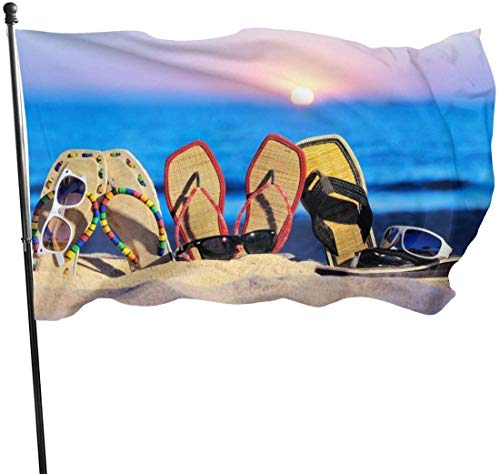 Viplili Flagge/Fahne, Sun Sand Flip Flops Flag 3x5 Ft, Double Stitched Polyester with Brass Grommets 3x5 Feet Flags for Outdoor Indoor Home Decor