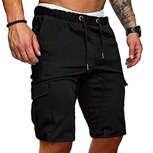 Sommer Kurze Hose für Herren,Skxinn Männer Kordelzug Sports Shorts Sommer Casual Bermudas Strand Jogging Hosen Vintage Taschen Hosen S-2XL Ausverkauf(Schwarz,Large)
