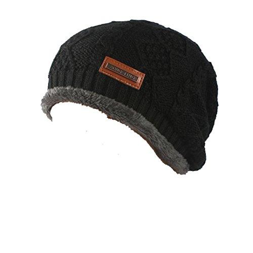 Muster Stricken-wolle-skull-cap (Tefamore Männer Frauen Baggy Warm häkeln Winter Wolle stricken Ski Mütze Skull Slouchy Caps Hut (Schwarz))