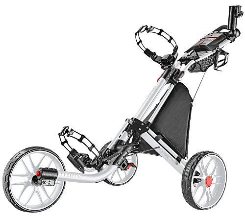 CaddyTek EZ 3-Rad Golf Push Trolley Pushtrolley Golftrolley 3-Rad (Weiss)