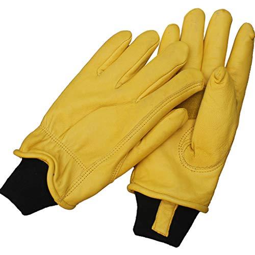Zhiling Schutzhandschuhe- Volllederhandschuhe, Frostschutz, Kalt, Warm, Niedrigtemperatur, Kalt, Dick, Samt, Haltbar, Rutschfeste Handschuhe (Farbe : Gelb, größe : L26cm)