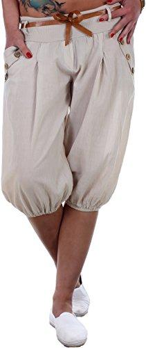 BLACKdenim Pumphose Damen Baggy Sommerhose Strandhose mit Zierknöpfen Beige Capri (Denim Capris)