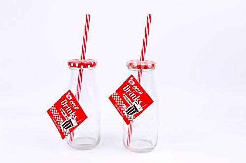 etro Vintage Mini Schule Milch Glas Flasche/Frühstück Smoothie Flasche/Milch Shake Flasche/Tee Party Kids-Rot & Weiß Polka Dot und Gingham-Deckel ()