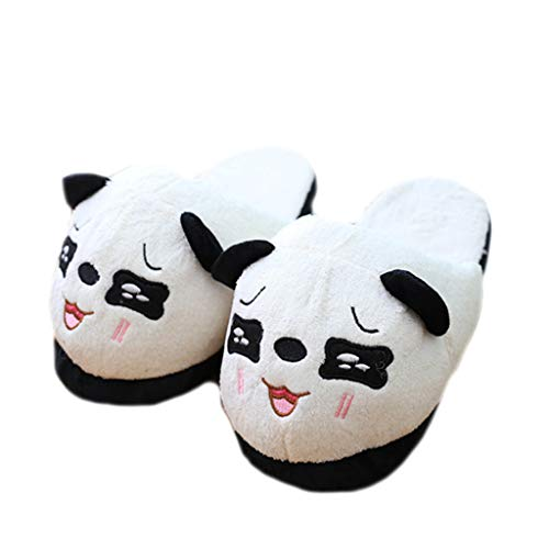 Liancany Women Men Winter Plush Stuffed Slippers Cute Panda Eyes Embroidery Indoor Shoes